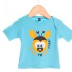 kinderkleding bedrukken - voorbeeld: Amnesty t-shirt blauw