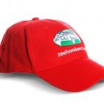 custom made caps - voorbeeld: Zeehondencreche cap rood