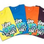 kinderkleding bedrukken - voorbeeld: Zapp your planet t-shirts