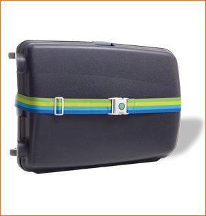 Transavia kofferriem op zwarte koffer
