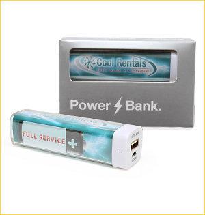powerbank bedrukken - voorbeeld: Cool Rentals powerbank