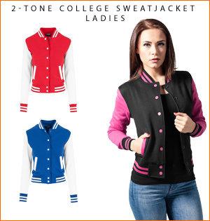 varsity jacket bedrukken - voorbeeld: 2-tone college sweatjacket ladies 1