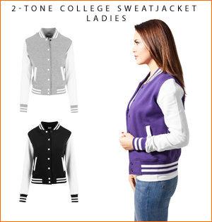 varsity jacket bedrukken - voorbeeld: 2-tone college sweatjacket ladies