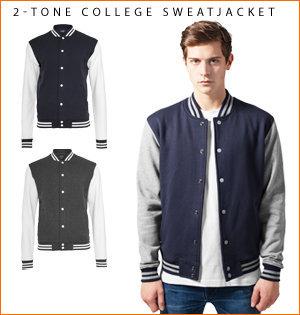 varsity jacket bedrukken - voorbeeld: 2-tone college sweatjacket