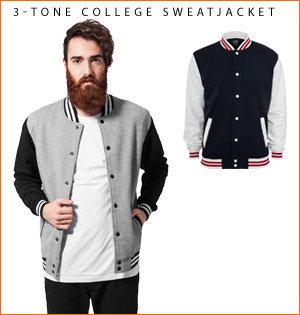 varsity jacket bedrukken - voorbeeld: 3-tone college sweatjacket 1