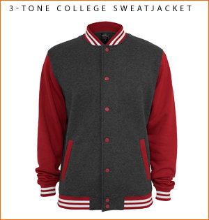 varsity jacket bedrukken - voorbeeld: 3-tone college sweatjacket