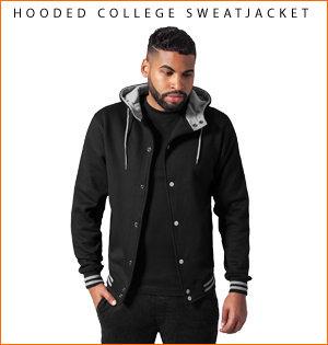 varsity jacket bedrukken - voorbeeld: hooded college sweatjacket
