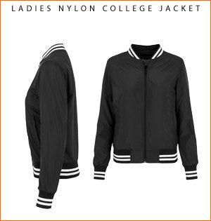 varsity jacket bedrukken - voorbeeld: ladies nylon college jacket