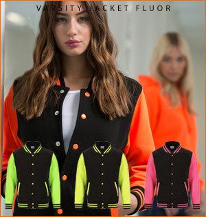varsity jacket bedrukken - voorbeeld: varsity jacket fluor