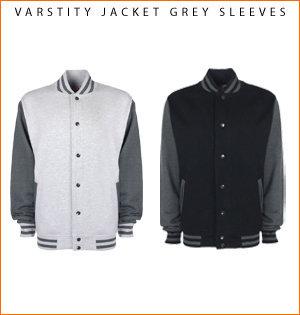 varsity jacket bedrukken - voorbeeld: varsity jacket grey sleeves