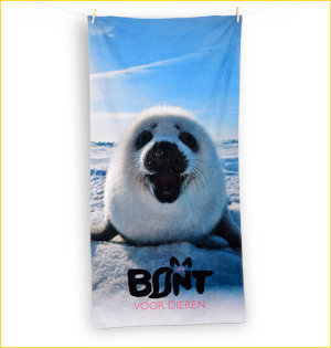 promotionele artikelen - voorbeeld: bont voor dieren strandlaken