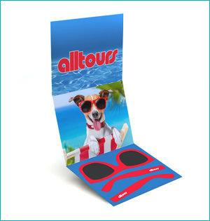 zonnebril in ansichtkaart - voorbeeld: zonnebril Alltours