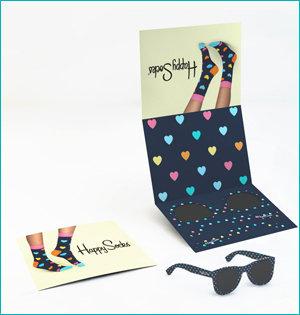 zonnebril in ansichtkaart - voorbeeld: zonnebril Happy Socks
