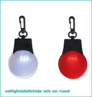 zichtbaar in het donker - voorbeeld: veiligheidslichtje wit en rood