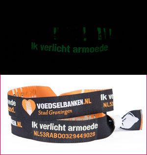 polsbandjes bedrukken - voorbeeld: polsbandje-Voedselbank Groningen glow in the dark