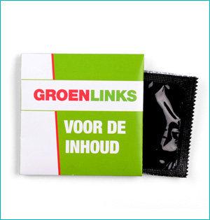 festival gadgets - voorbeeld: GroenLinks condoom