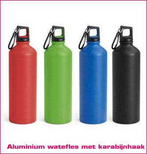 waterfles bedrukken - voorbeeld: aluminium drinkfles met karabijnhaak