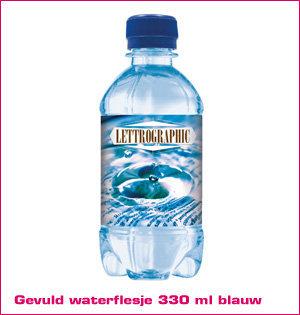 waterfles bedrukken - voorbeeld: gevuld waterflesje 330ml blauw