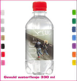 waterfles bedrukken - voorbeeld: gevuld waterflesje 330ml