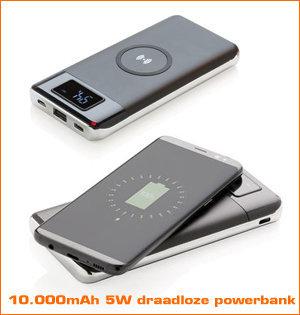 draadloze oplader bedrukken - voorbeeld: 10.000mAh 5W draadloze powerbank
