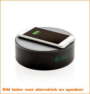 draadloze oplader bedrukken - voorbeeld: 5W lader met alarmklok en speaker
