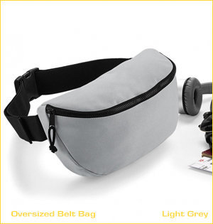 heuptassen bedrukken - voorbeeld: oversized belt bag light grey