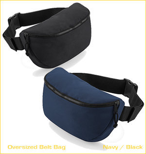 heuptassen bedrukken - voorbeeld: oversized belt bag navy black
