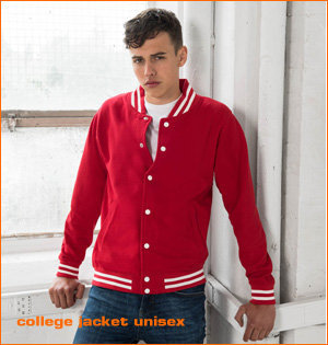 varsity jacket bedrukken - voorbeeld: college jacket unisex man