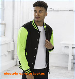 varsity jacket bedrukken - voorbeeld: electric varsity jacket