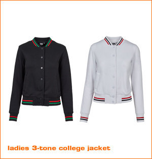 ladies 3 tone college jacket kleuren