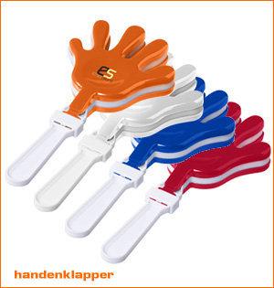 oranje artikelen - voorbeeld: handenklapper