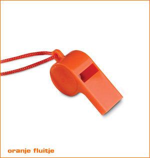 oranje merchandise - voorbeeld: oranje fluitje