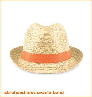 oranje fanartikelen - voorbeeld: strohoed met oranje band