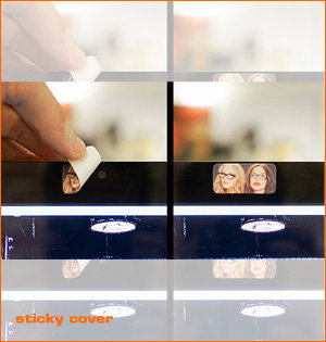 webcam cover bedrukken - voorbeeld: sticky cover