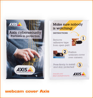 webcam cover bedrukken - voorbeeld: webcam cover Axis Communications met achterzijde
