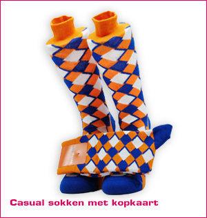 custom made sokken - voorbeeld: casual sokken met kopkaart