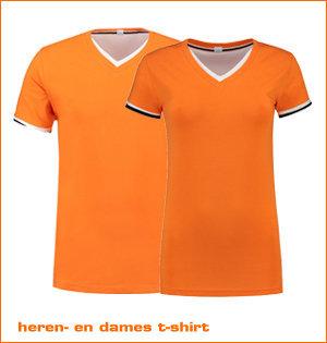 heren- en dames t-shirt oranje
