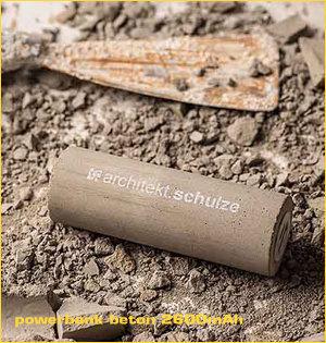 powerbank bedrukken - voorbeeld: powerbank beton 2600