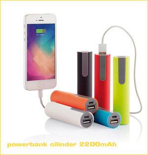 powerbank bedrukken - voorbeeld: powerbank cilinder 2200