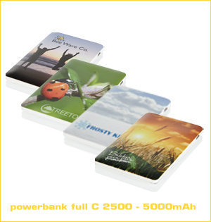 powerbank bedrukken - voorbeeld: powerbank full colour