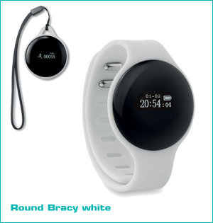 activity tracker bedrukken - voorbeeld: round bracy white