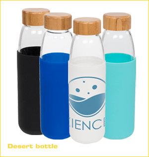 glazen waterflessen bedrukken - voorbeeld: Desert bottle