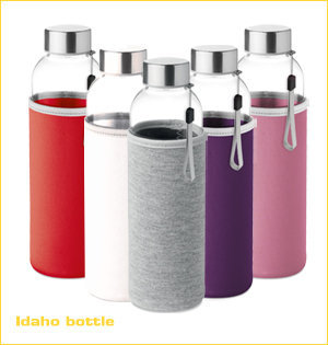 glazen waterflessen bedrukken - voorbeeld: Idaho bottle