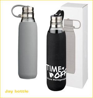 glazen waterfles bedrukken - voorbeeld: Jay bottle
