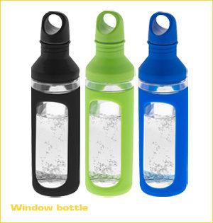 glazen waterfles bedrukken - voorbeeld: Window bottle