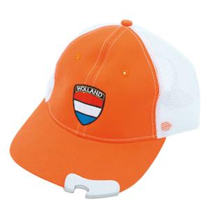 Oranje cap met opener